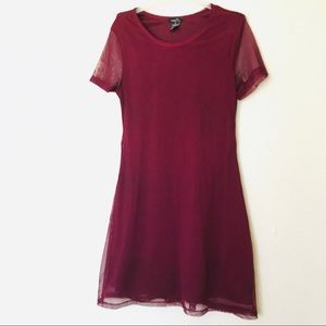 Rue 21 Burgundy Mesh T-Shirt Dress M